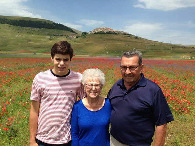Brady with grandparents, Vivian and Martin
