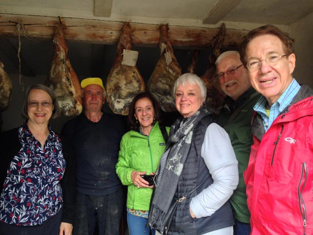 Our group with Peppe - and his prosciutti