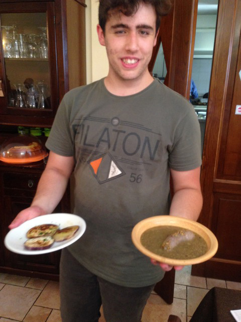 David serves up lentils with sausage and grilled eggplants